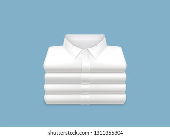 Washed, clean, ironed and folded in stack white shirts 3d realistic vector on blue background. Unisex casual, everyday clothing icon. Housekeeping concept, shopping sale, detergent ad design element
