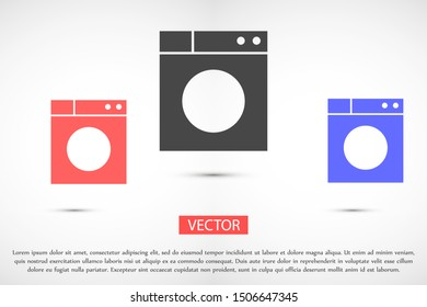 Washer icon. Appliance vector icon. Washer icon vector. Washer thin line design. Vector image.Washing machine icon vector design template Washing machine