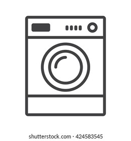 Washer icon. Appliance vector icon. Washer icon vector. Washer thin line design. Vector image.