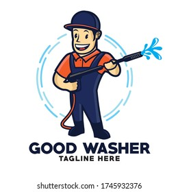 Washer Pressure character  good for Pressue washing service company logo