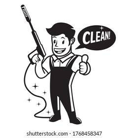 Washer Pressure mascot character, good for Pressue washing service company log