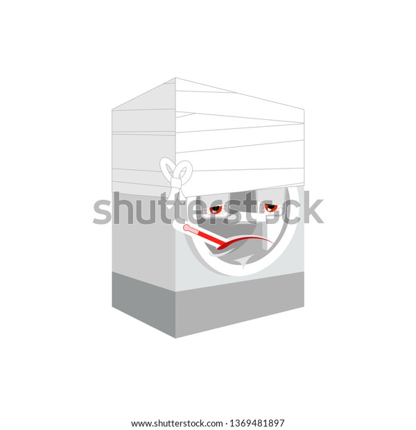 Washer Sick Thermometer Isolated Ill Washing Stock Vector