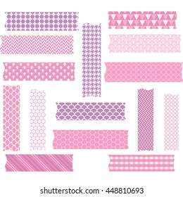 Washi Tape Scrapbook Patterns,Vector Elements.Vector illustration.