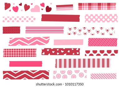 Washi tape vector illustration. Red and pink masking tape strips. Design elements for decoration. EPS file has global colors for easy color changes and semitransparent tape strips. Hearts. Love.