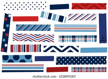 Washi tape vector illustration. Red, white and blue tape strips. Design elements for decoration. EPS file has global colors for easy color changes and semitransparent tape strips.