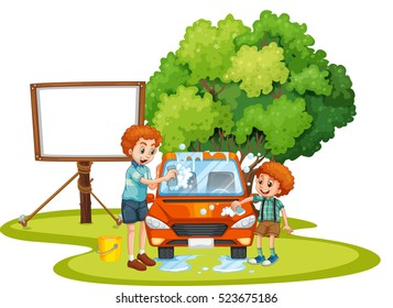 Washing car in father and son