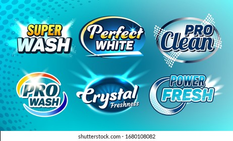 Washing Cleaner Creative Company Logo Set Vector. Super Wash And Perfect White, Pro Clean, Crystal Freshness And Power Fresh Collection Different Logo. Logotypes Concept Template Illustrations