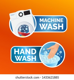Washing clothes sticker set, instructions, colorful machine wash icon and hand wash symbol for label, vector illustration isolated