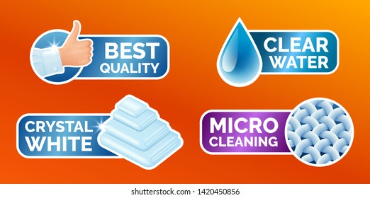 Washing clothes stickers set, stickers - micro cleaning, clear water, best quality, crystal white. Clean laundry, fibers, water drop, thumbs up icons isolated, vector illustration.