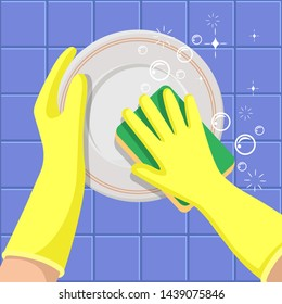 Washing dishes. The hands in a yellow gloves with sponge washes a dish. A concept for cleaning companies. Flat сartoon vector illustration.