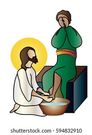 Washing of feet - Jesus Christ washing the feet of the apostles on Holy Thursday. Abstract artistic modern religious christian illustration