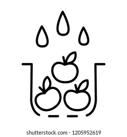 Washing fruit icon. Line art style. Vector illustration isolated on white background. Cooking concept