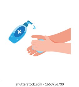 washing hand with Antibacterial hand sanitizer, disinfection gel symbol in cartoon flat illustration vector isolated in white background