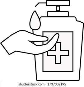 Washing hand with sanitizer liquid soap
