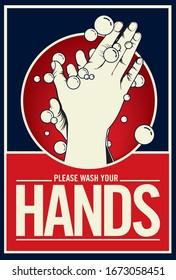Washing hand with soap. Propaganda style illustration -vector