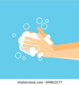 Washing hand with soap -vector