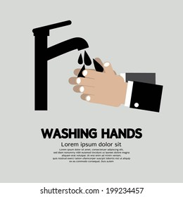 Washing Hands With Faucet Vector Illustration