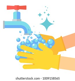 Washing hands. Hands in gloves for cleaning are washed with soap and water. Flat vector cartoon illustration. Objects isolated on white background.