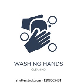 WASHING HANDS icon. Trendy flat vector WASHING HANDS icon on white background from Cleaning collection, vector illustration can be use for web and mobile, eps10