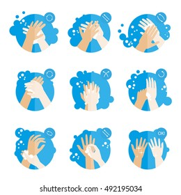 Washing hands properly - medical instructions for health. Washing hands Clean hygiene procedure with soap. Washing hands Set of fat icons.Washing hands Isolated vector illustrations