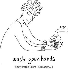 Washing hands to sanitize and disinfect COVID-19. Man washing hands with soap with bubbles. Virus prevention concept. COVID-19 hygiene promotion with washing your hands