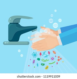 Washing hands with soap. Handwashing. Clean arm in foam bubbles. Personal hygiene. Bacteria, germ, virus. Faucet, tap with water isolated on background. Disinfection, skin care. Vector flat design