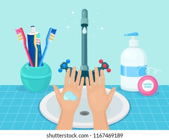 Washing hands with soap. Handwashing. Clean arm in foam bubbles. Personal hygiene. Faucet, tap, basin, sink with water isolated on background. Toothbrush with tube of toothpaste. Vector design
