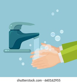 Washing hands with soap. Handwashing. Clean arm in foam bubbles. Personal hygiene. Faucet, tap with water isolated on background. Disinfection, skin care. Vector illustration. Flat style design