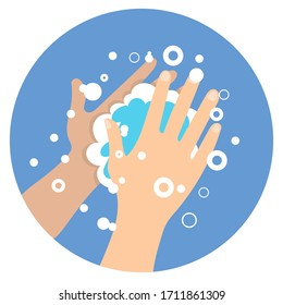 Washing hands with soap icon flat style. Pandemic of coronavirus. Self protect from virus. Wash your hands. Washing hands with soap to prevent virus and bacteria.Vector stock illustration.