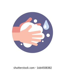 Washing hands with soap. Washing hands with soap to prevent virus and bacteria.Vector illustration. Isolated on white background.