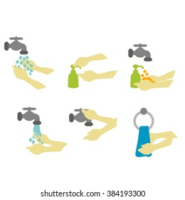 Washing hands with soap. Vector