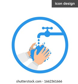 Washing hands with soap vector sign