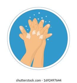 Händewaschen mit Seife-Vektorillustration-Schild. Wie waschen Sie Ihre Hände Infografik. Handwaschanleitung