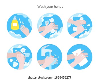 Washing hands step by step sequence instruction, hygiene, prevention of infectious diseases. Vector Illustration.