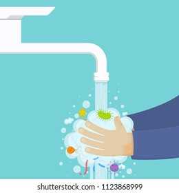 Washing hands under the faucet with soap, hygiene concept. Cleaning hands from germs, bacteria.
