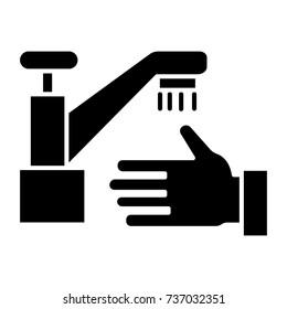 washing hands - wash crane icon, vector illustration, black sign on isolated background