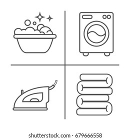Washing, ironing, clean laundry line icons. Washing machine, iron, handwash and other clining icon. Order in the house linear signs for cleaning service.
