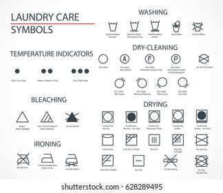 Washing And Laundry Icons Set. Flat design, easy to place on your image and print. Web and app style. A guide to deciphering symbols for clothing care. Vector Illustration. EPS 10.