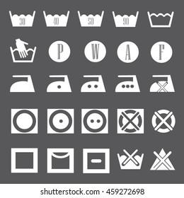 Washing laundry icons set illustration