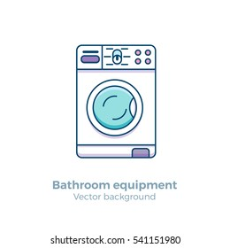 Washing machine colorful vector illustration made in outline flat style for web sites, bathroom equipment shops or interior designs