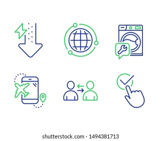 Washing machine, Energy drops and Globe line icons set. Communication, Flight destination and Checkbox signs. Repair service, Power usage, Internet world. Users talking. Business set. Vector