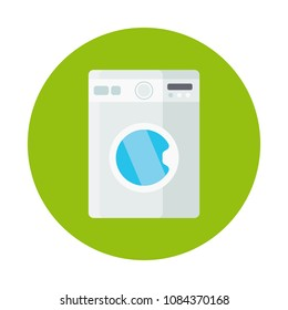 Washing machine flat icon isolated on green background. Simple Washing machine sign symbol in flat style. Cleaning and washing Vector illustration for web and mobile design.
