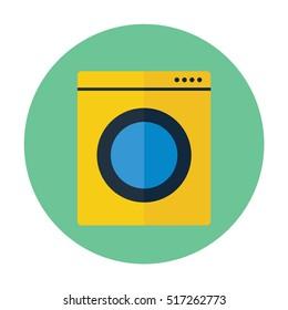 washing machine flat  icon, laundry symbol