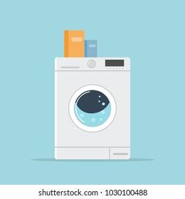 Washing machine. Flat style. Vector.