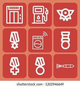 Washing machine, gas, elevator, submarine torpedo icon set suitable for info graphics, websites and print media and interfaces