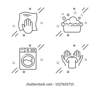 Washing machine, Hand washing and Hold t-shirt line icons set. Laundry, Laundry basin, Wipe with a rag. Cleaning set. Line washing machine outline icon. Vector