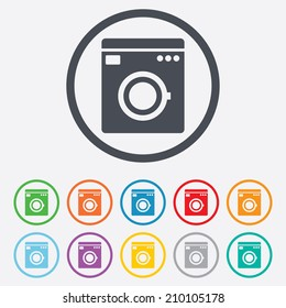 Washing machine icon. Home appliances symbol. Round circle buttons with frame. Vector