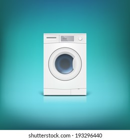 Washing machine isolated. Front view, close-up. Editable vector