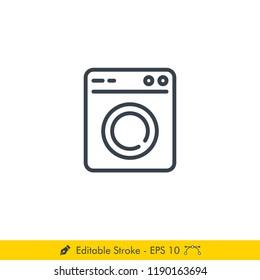 Washing Machine (Laundry) Icon / Vector - In Line / Stroke Design
