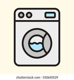 Washing Machine Laundry Minimal Colorful Flat Line Stroke Icon Pictogram Symbol Illustration